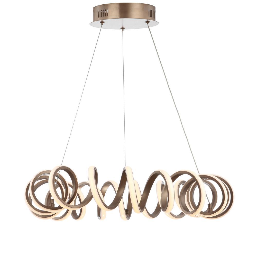 Cursive 24 in. Adjustable Spiral Coffee Integrated LED Metal Chandelier Ceiling Light