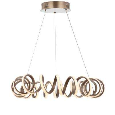 Cursive 24 in. Adjustable Spiral Coffee Integrated LED Metal Chandelier Ceiling Light