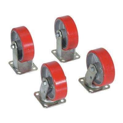 4,800 lb. Capacity 6 in. x 2 in. Poly-On-Steel Caster Kit - Set of 4