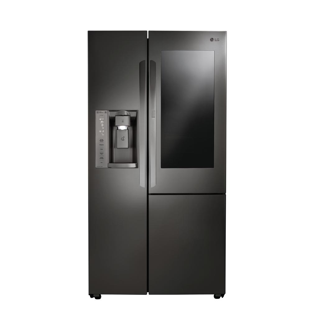 lg electronics 21 7 cu ft slide in side by side smart refrigerator in black stainless steel. Black Bedroom Furniture Sets. Home Design Ideas