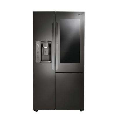 21.7 cu. ft. Slide-in Side-by-Side Refrigerator in Black Stainless Steel, Counter Depth