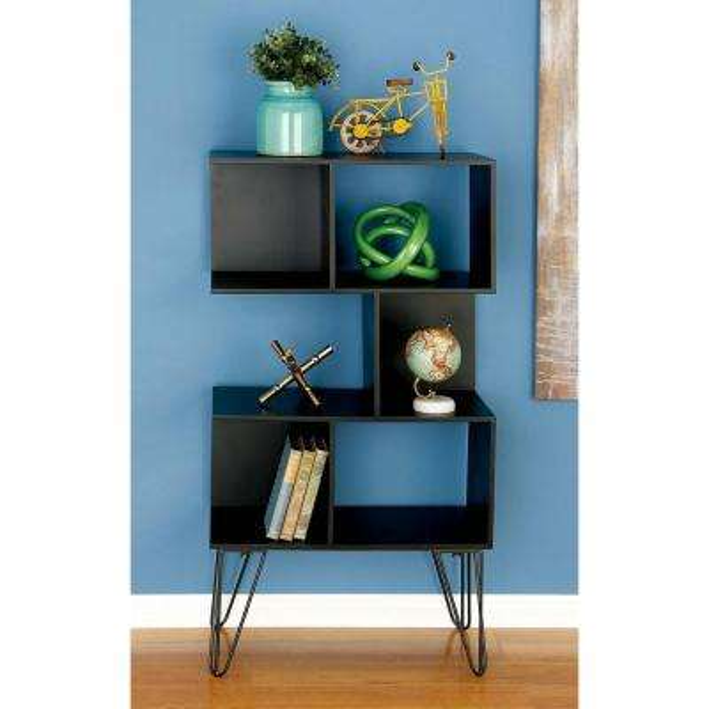 47 in. x 26 in Modern Cube-Type Wooden Shelf in Black