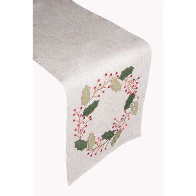 Holly Wreath 100% Polyester Table Runner