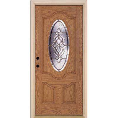37.5 in. x 81.625 in. Lakewood Brass 3/4 Oval Lite Stained Light Oak Right-Hand Inswing Fiberglass Prehung Front Door