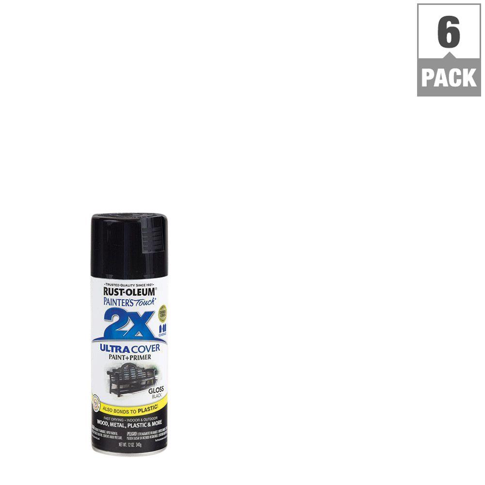 RustOleumPaintersTouch2X 12 oz. Black Gloss General Purpose Spray Paint (6-Pack)