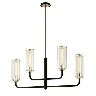 Aeon 4-Light Carbide Black 4.75 in. W Linear Pendant with Clear Glass