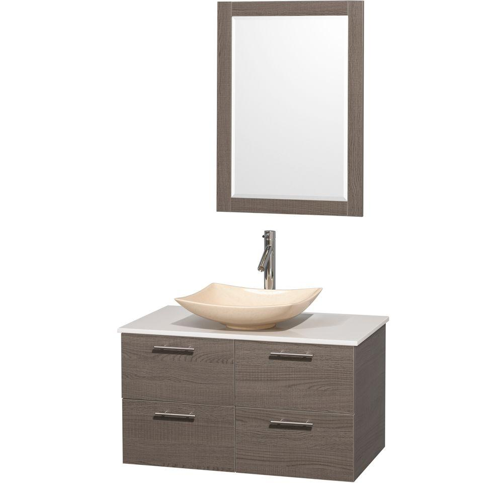 Vanity In Gray Oak With Solid Surface Top