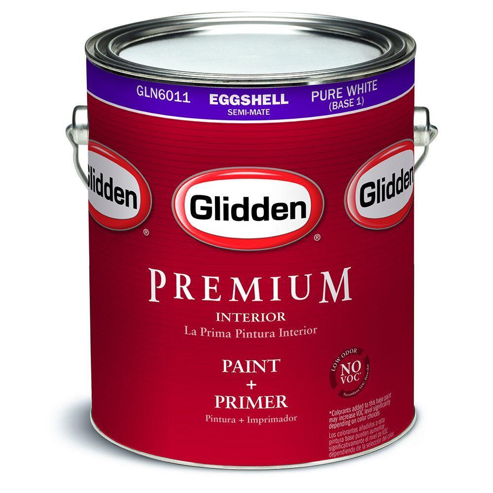 Glidden Premium 1 gal. Pure White Eggshell Interior Paint