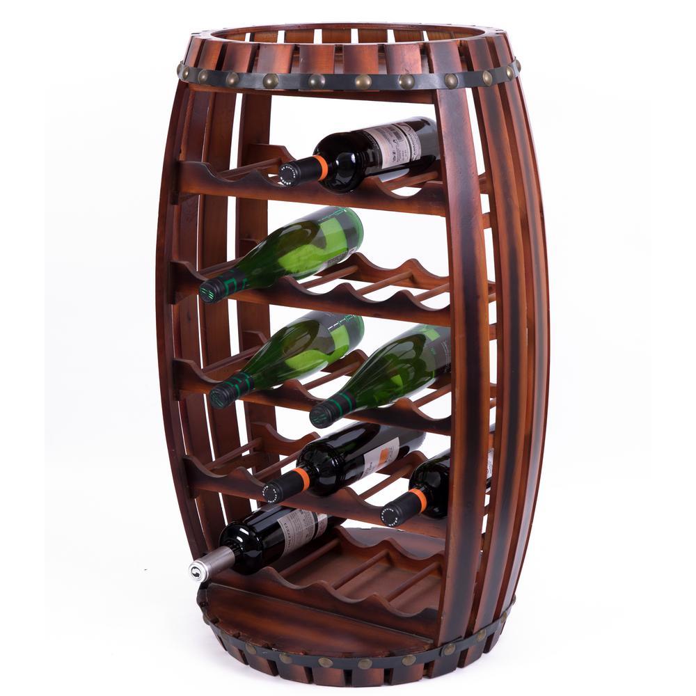 Large Wooden Barrel Shaped 23-Bottle Brown Cherry Wine Rack