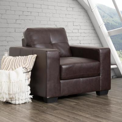 Club Tufted Chocolate Brown Bonded Leather Chair