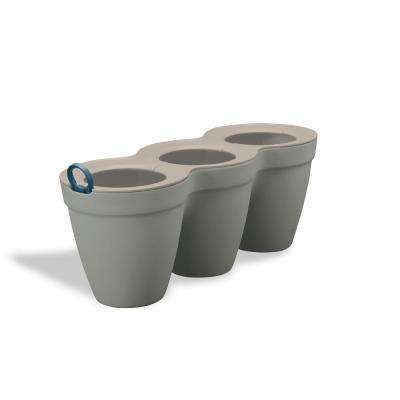 Ivy Herbs 4.75 in. x 5 in. Beige Resin Tri-Planter