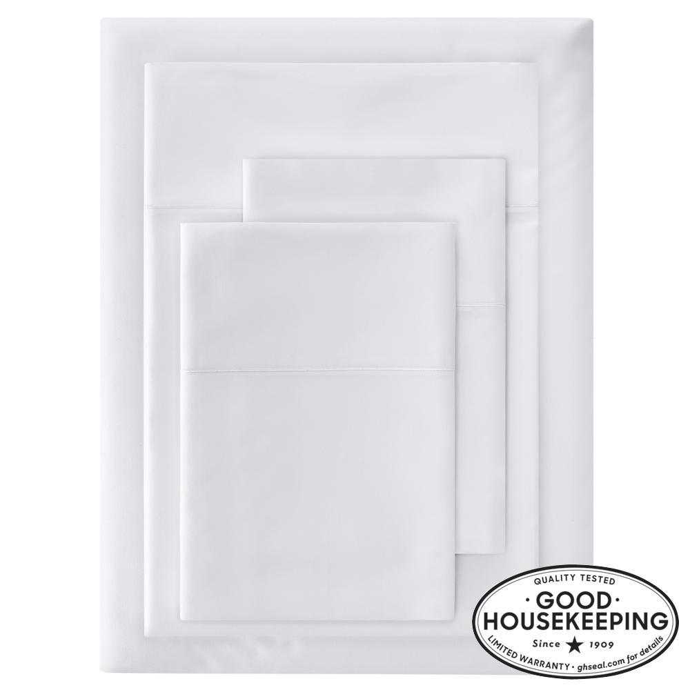 600 Thread Count Supima Cotton Sateen 4-Piece Queen Sheet Set in White