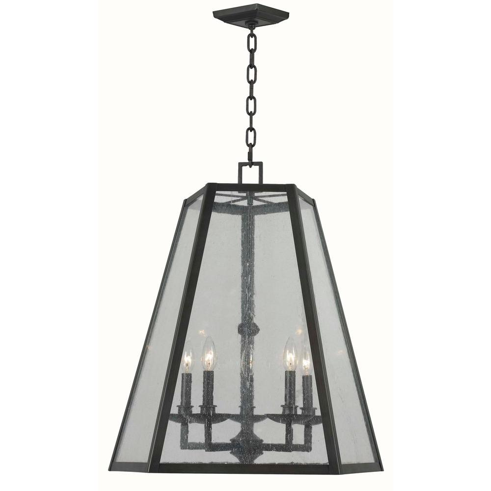 World Imports Bedford 5-Light Oiled Rubbed Bronze Glass Pendant
