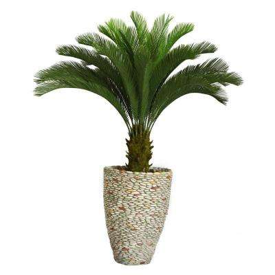 62 in. Tall Cycas Palm Tree in 16 in. Fiberstone Planter