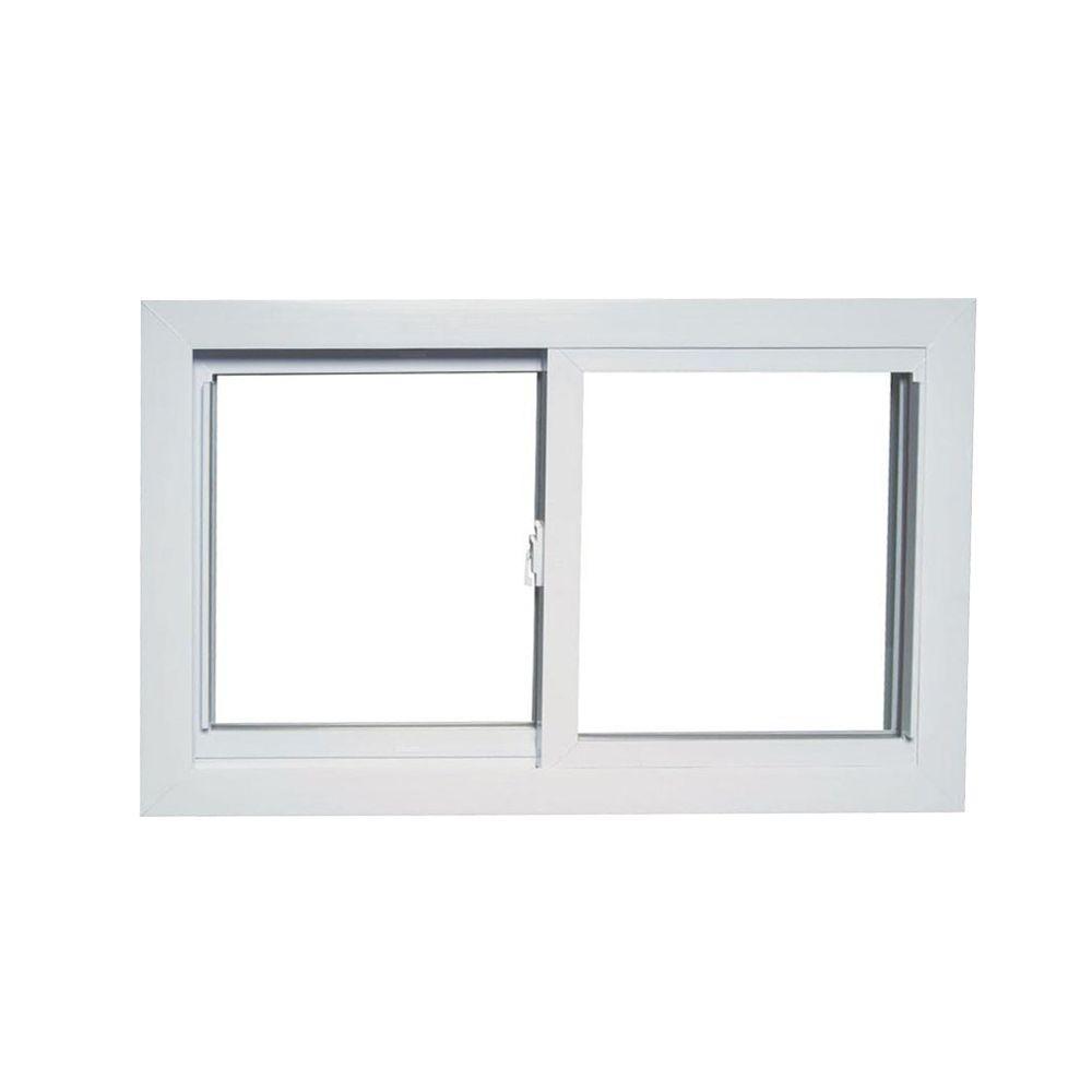 31 in. x 19 in. 70 Series Universal/Reversible Sliding White Vinyl Window with Buck Frame