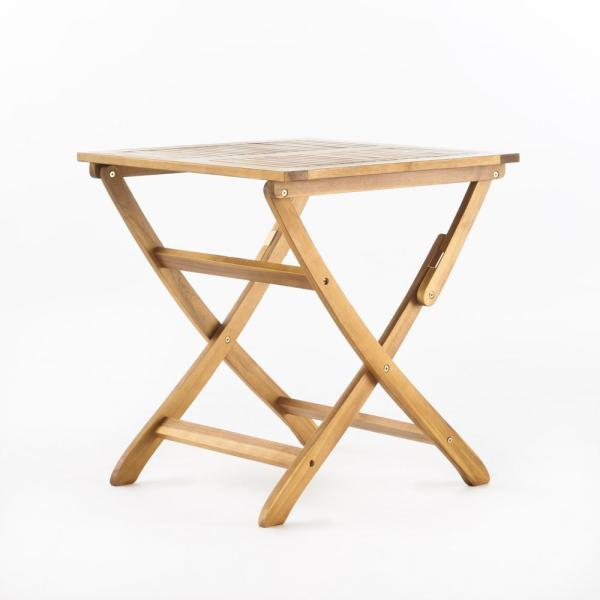 Wynter Natural Square Folding Wood Outdoor Bistro Table