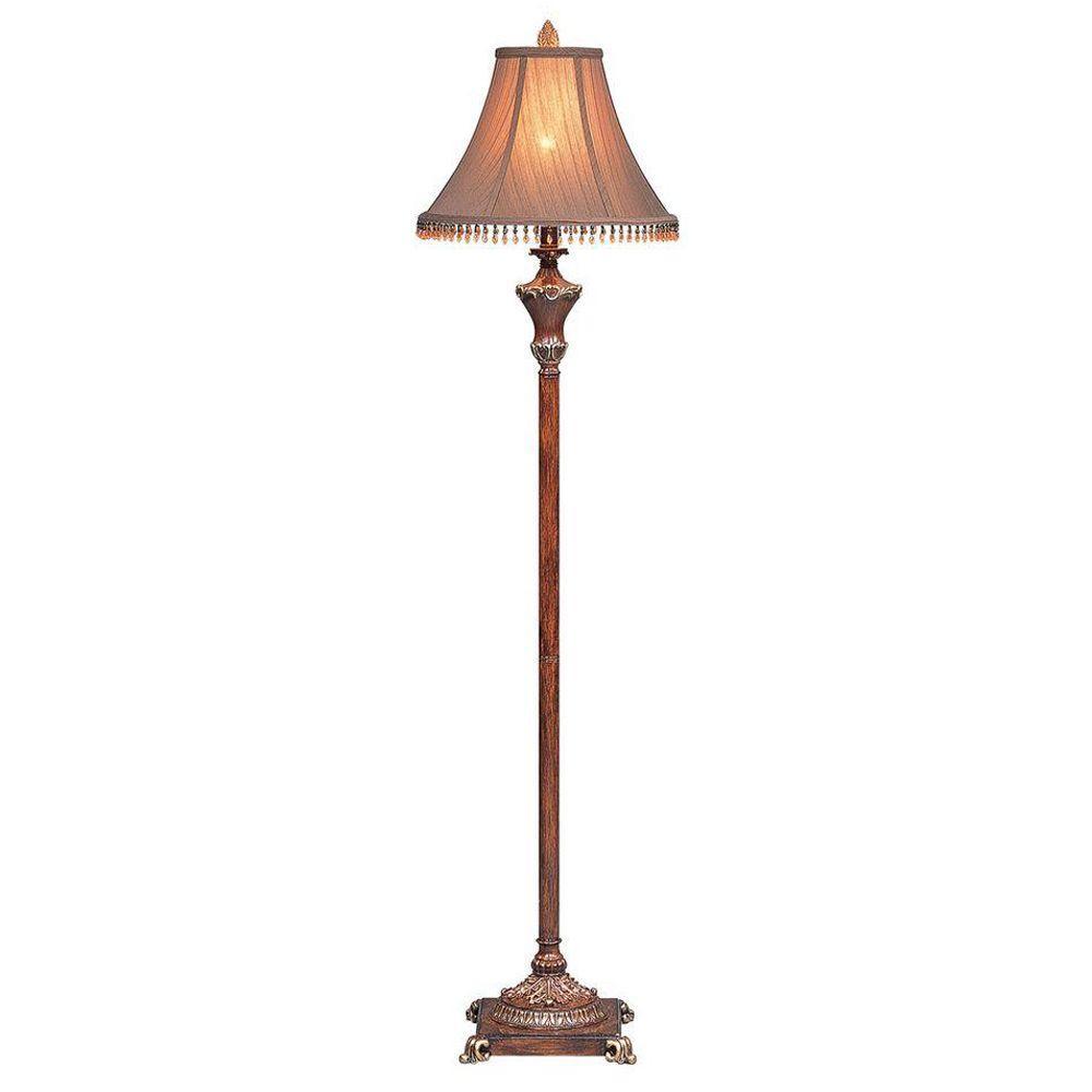 Ok Lighting 63 In Resemble Wooden Color Floor Lamp