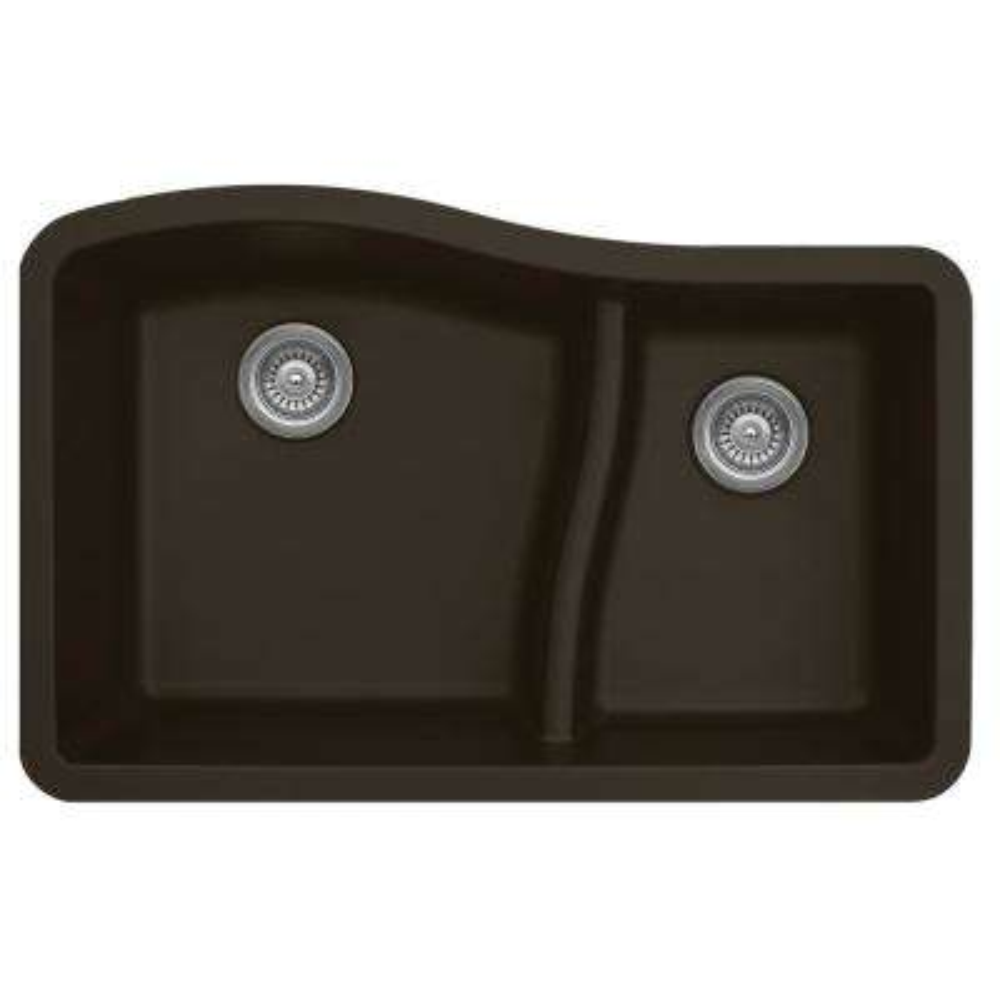 Undermount Quartz Composite 32 in. 60/40 Double Bowl Kitchen Sink in Brown
