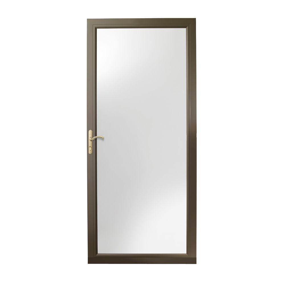 36 in. x 80 in. 3000 Series Terratone Left-Hand Fullview Easy Install Aluminum Storm Door with Brass Hardware