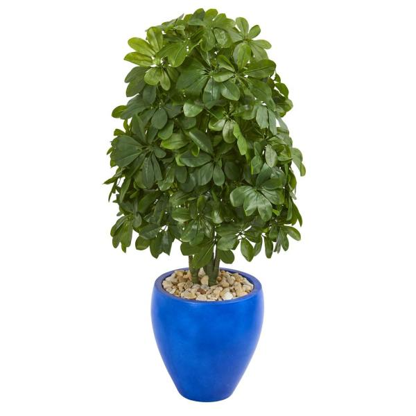 Nearly Natural Real Touch 3.5 ft. Indoor Schefflera Artificial Plant in Blue Oval Ceramic