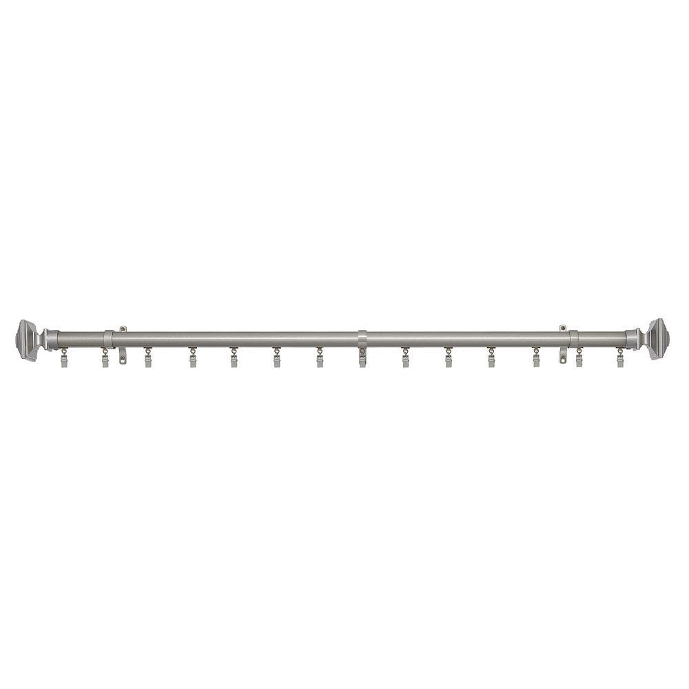 Achim Oxford 66 in. L - 120 in. L Innovative Traverse Curtain Rod in Matte Silver