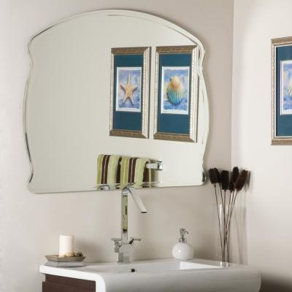 40 in. W x 32 in. H Frameless Square Bathroom Vanity Mirror in Silver
