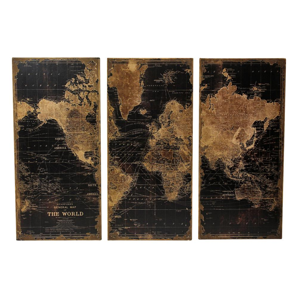 Stanford Wood Distressed World Map Wall Art Set