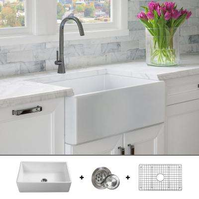 Luxury 30 inch Fine Fireclay Modern Farmhouse Kitchen Sink in White, Single Bowl, Flat Front, Includes Grid and Drain