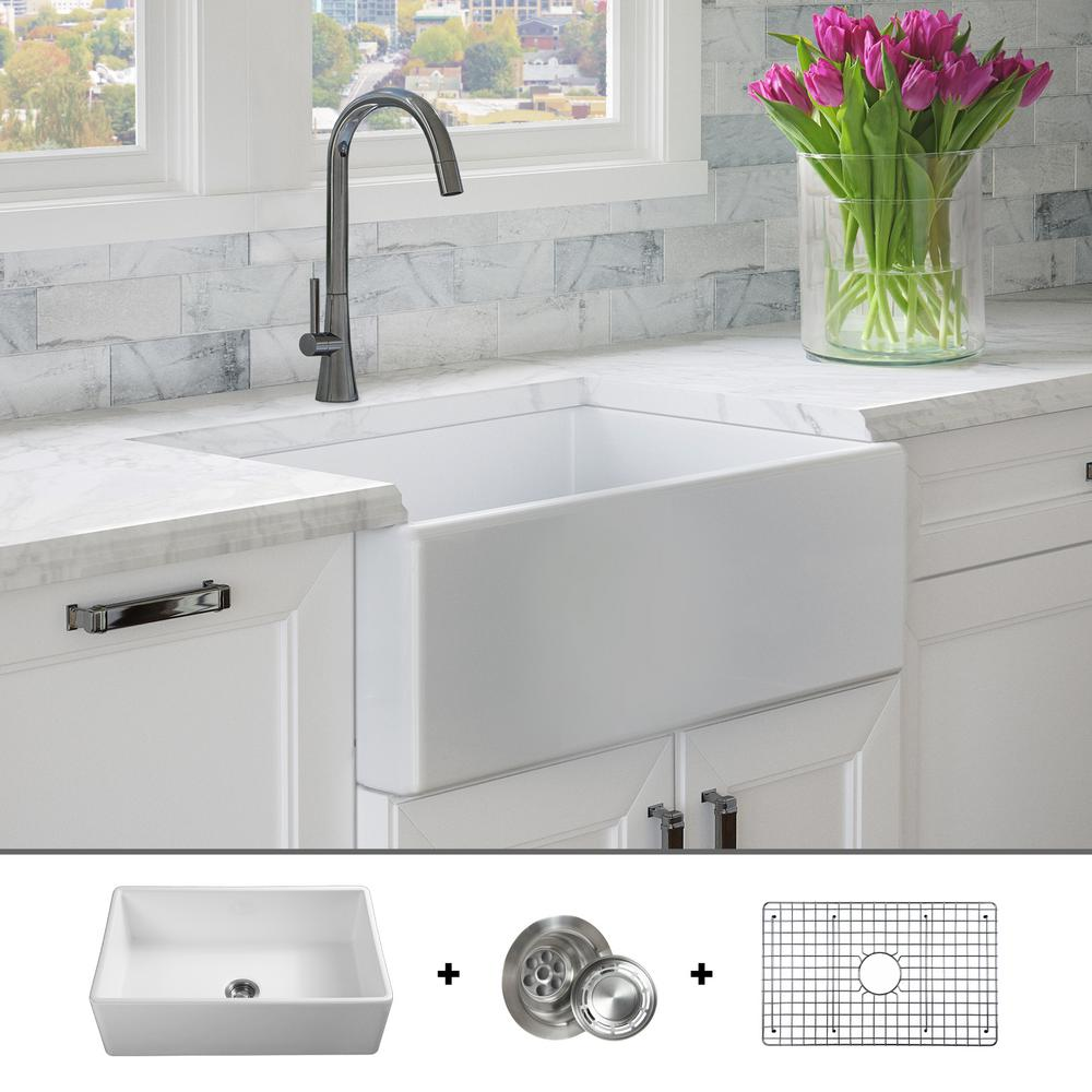 Fossil Blu Luxury 30 inch Fine Fireclay Modern Farmhouse Kitchen Sink in  White, Single Bowl, Flat Front, Includes Grid and Drain