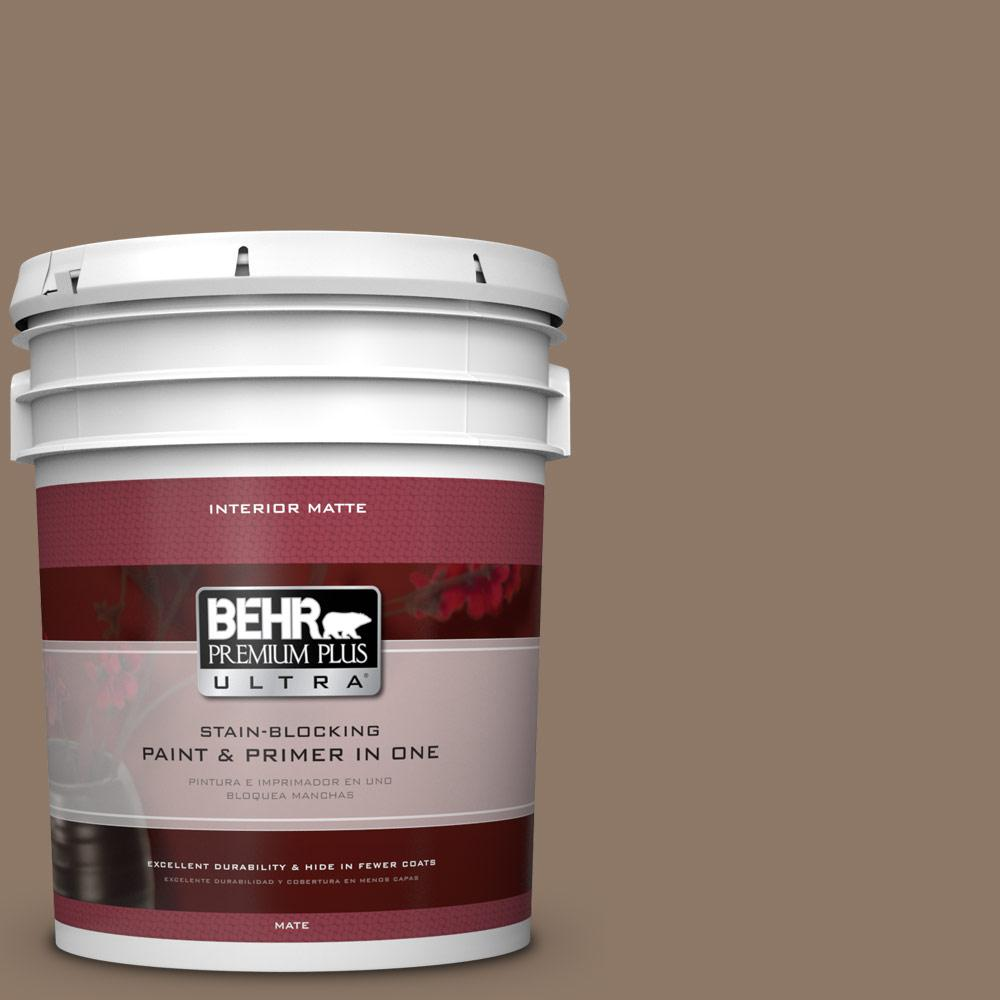 BEHR Premium Plus Ultra 5 gal. #PPU5-5 Coconut Shell Flat/Matte Interior Paint