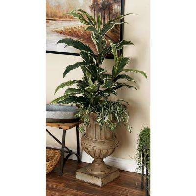 26 in. Distressed Beige Iron Metal Footed Urn Planter Decorative Vase