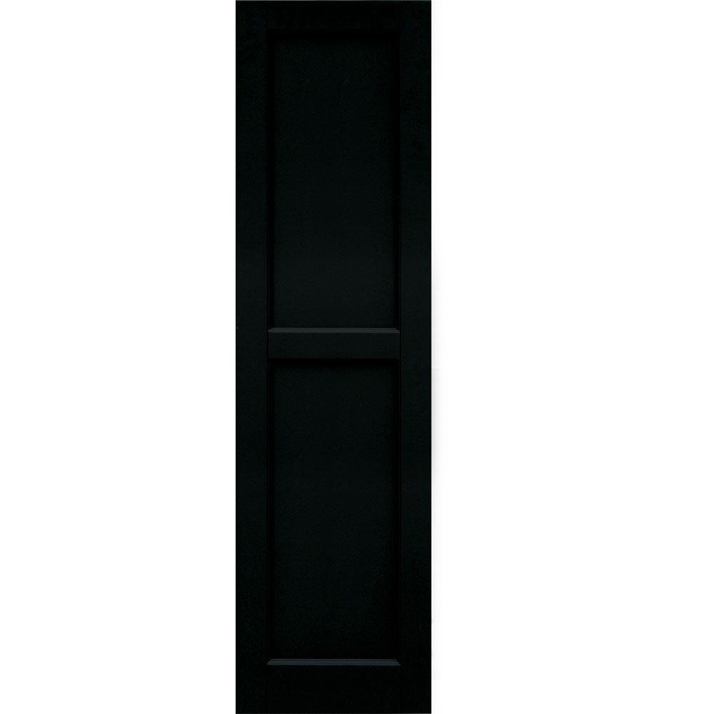 Winworks Wood Composite 15 in. x 55 in. Contemporary Flat Panel Shutters Pair #653 Charleston Green