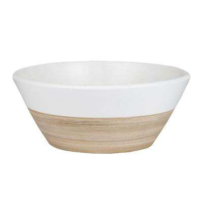 10 in. White Ceramic Bamboo Low Bowl Planter