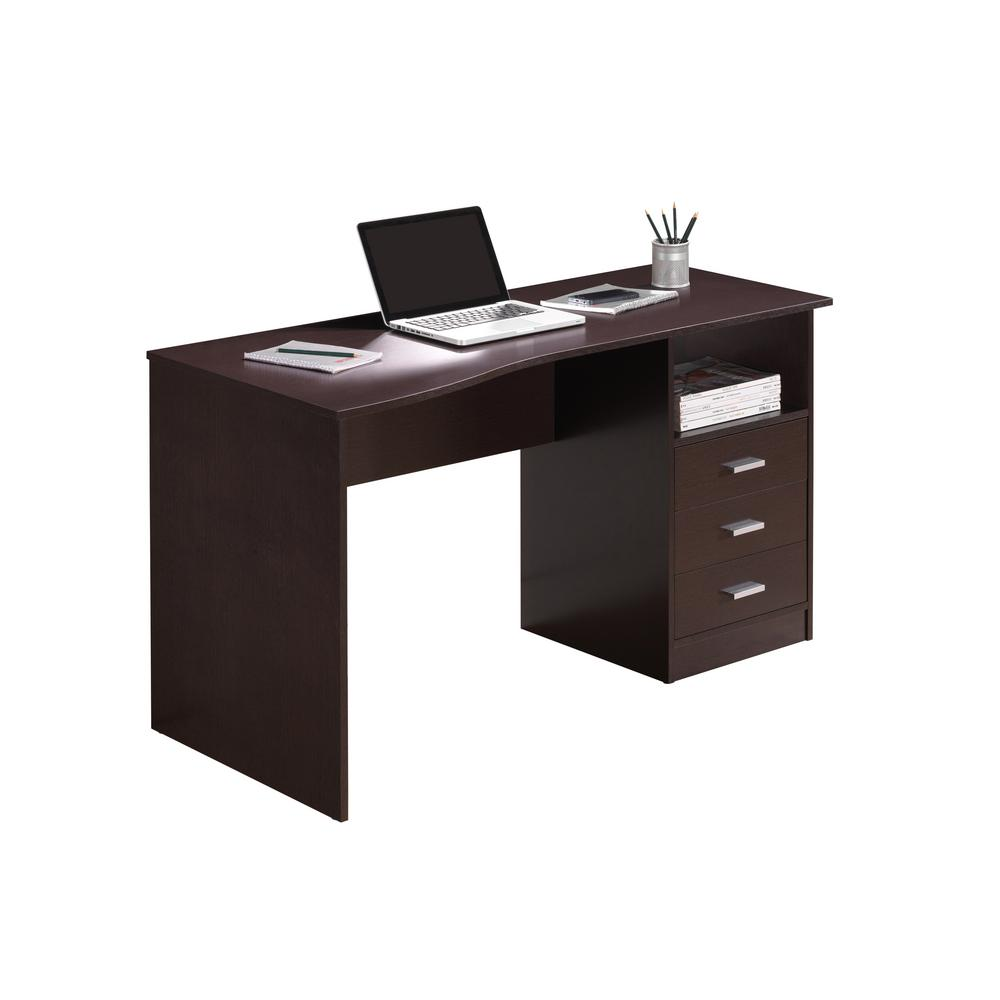 Techni Mobili Wenge Classic Computer Desk With Multiple Drawers