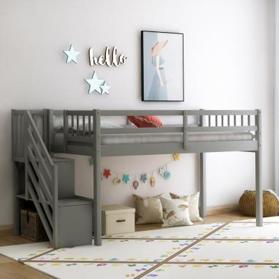 Gray Twin Size Floor Loft Bed with Storage Stairs