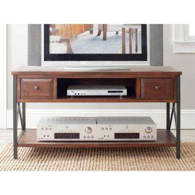 Felicia Dark Teak Storage Console Table