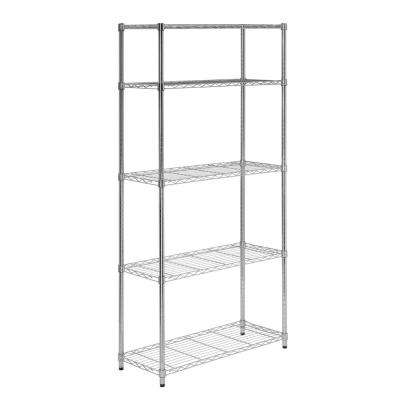 5-Tier Heavy-Duty Adjustable Shelving Unit, Chrome
