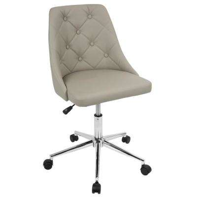 Marche Button-Tufted Light Grey Faux Leather Office Chair