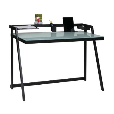 44 in. Rectangular Black Writing Desk with Open Storage