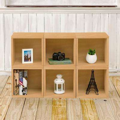 Barcelona 6-Cubes zBoard Stackable Modular Storage Cubby Organizer, Tool-Free Assembly Storage in Natural