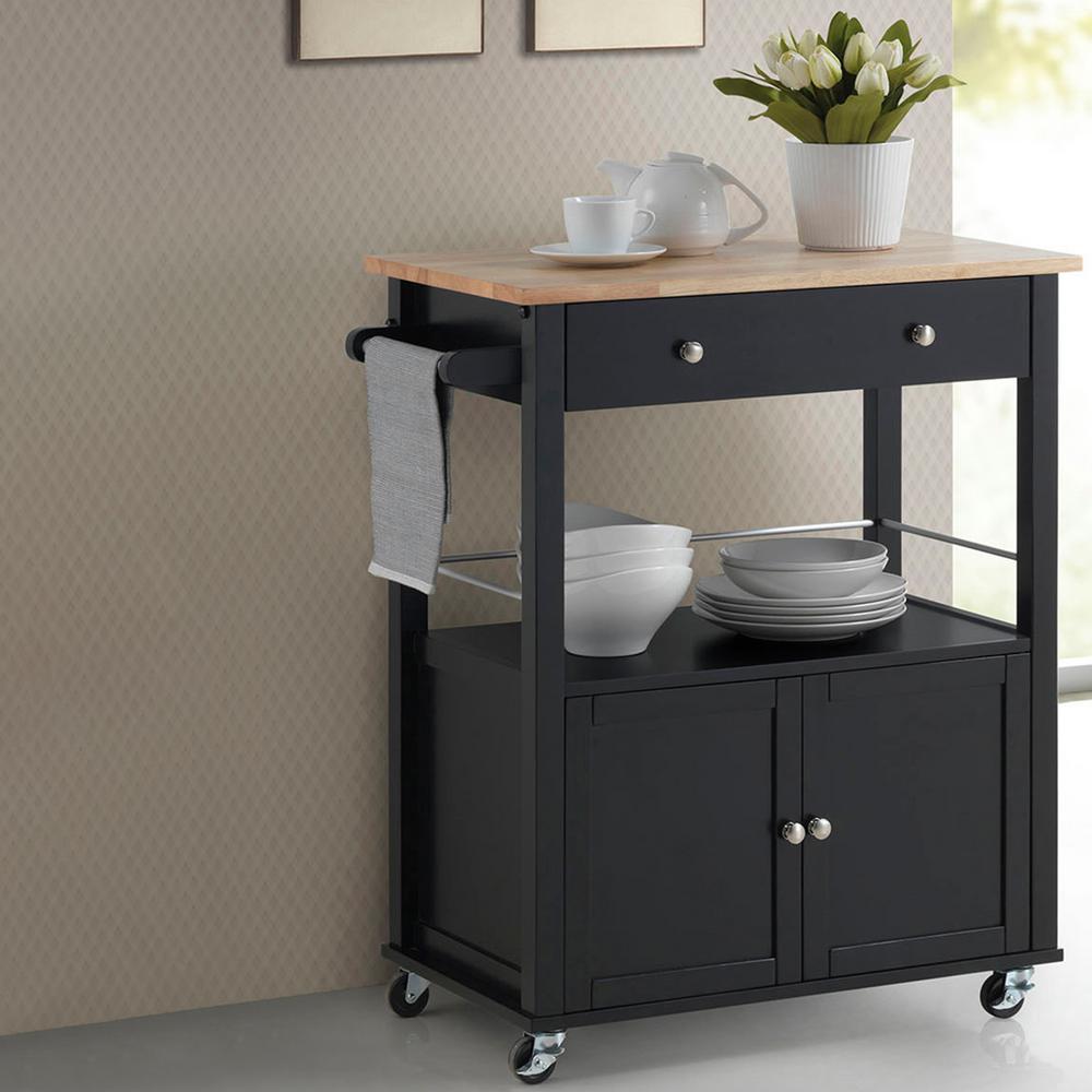 Baxton Studio Denton Black Kitchen Cart With Wood Top