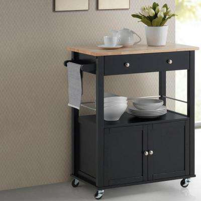Denton Black Kitchen Cart with Wood Top