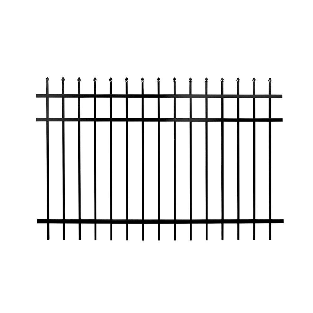 Barrette 4 ft. H x 6 ft. W 3-Rail Picket Top Aluminum Fence Kit (Not Assembled)-DISCONTINUED