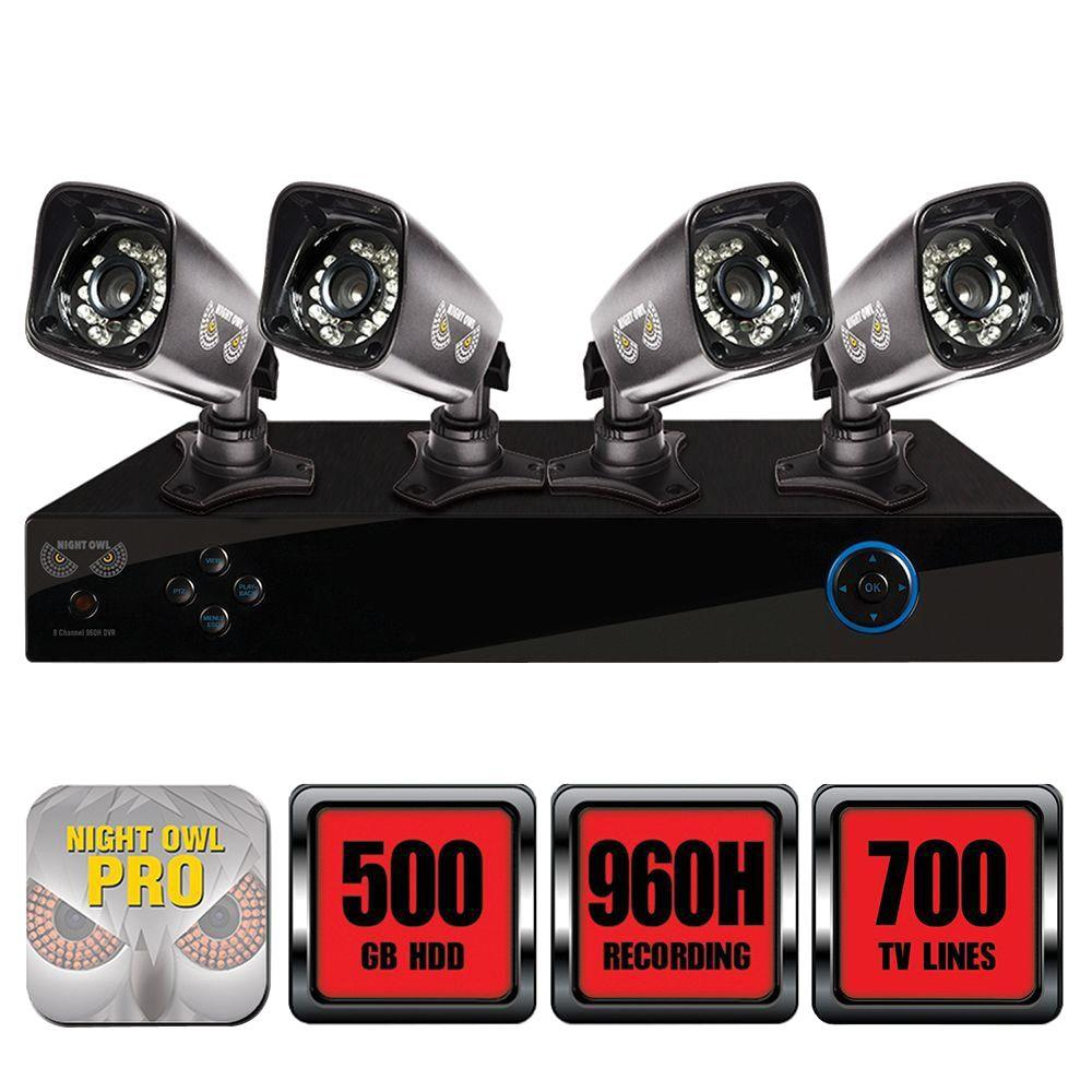 Night Owl Pro Series 8-Channel 960H 500GB Surveillance System with HDD and (4) 700 TVL Cameras