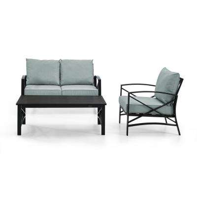 Kaplan 3-Piece Outdoor Seating Set With Mist Cushion - Loveseat, Chair , Coffee Table