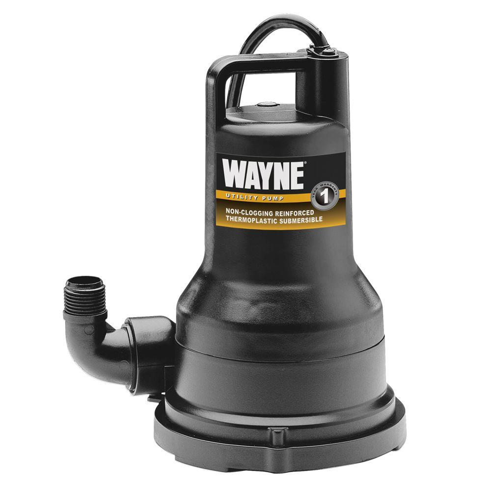 Wayne 1/4 HP Non-Clogging Vortex, Reinforced Thermoplastic Submersible Utility Pump