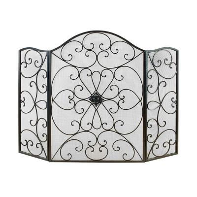 Scroll Patterned Black Metal 3-Panel Fireplace Screen with Double Bar