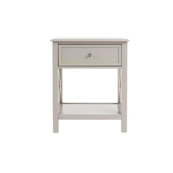 Marford 1 Drawer Riverbed Taupe Wood Nightstand (22 in W. X 26 in H.)