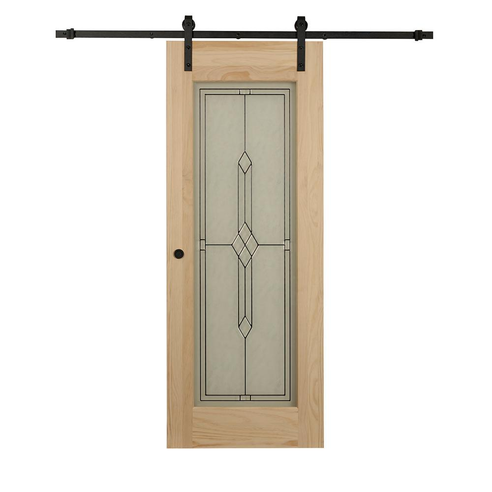 Pine barn doors interior closet doors the home depot timber hill diamond frost glass and unfinished pine wood planetlyrics Gallery