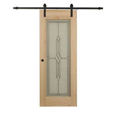 38 in. x 84 in. Timber Hill Diamond Frost Glass and Unfinished Pine Wood Barn Door Slab with Sliding Door Hardware Kit